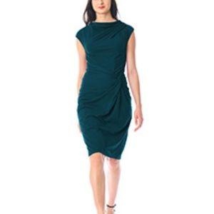 Knot waist Cotton sheath dress Teal size 18